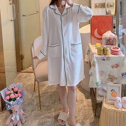 봄 가을 홈웨어 잠옷 배색라인 파자마 원피스