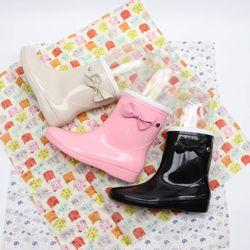 리본포인트 애나멜 장화 아기자기 귀여운 레인부츠