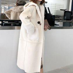러블리 귀여운 가방포함 양털 후드 무스탕 코트