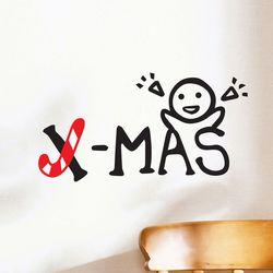 x-mas 지팡이와 아이 크리스마스 스티커 small