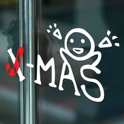 x-mas 지팡이와 아이 크리스마스 스티커 large