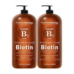 New York Biology 비타민B7 비오틴 샴푸 컨디셔너 500ml 세트