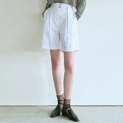 BELTED BERMUDA PANTS [WHITE]