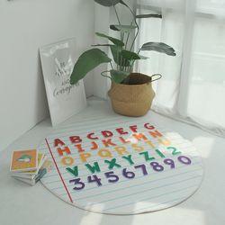 알파벳 노트 프린팅 원형러그 (130cm)