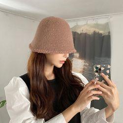 여성 겨울 팝콘 니트 벙거지 버킷햇 모자