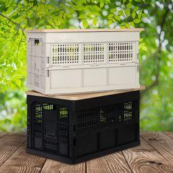 자연을품은 멀티 폴딩박스+고무나무 상판 세트 캠핑테이블