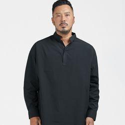 러기드하우스 : 원버튼 헨리넥 반오픈 셔츠 블랙(NEW9KOJP6G)