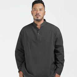러기드하우스 : 원버튼 헨리넥 반오픈 셔츠 챠콜(NEWOSXE0WW)