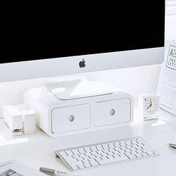 사무실 책상 미니서랍 정리함 데스크 모니터받침대 겸용