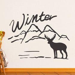 winter 설산과 사슴 겨울 인테리어 스티커 small