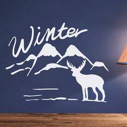winter 설산과 사슴 겨울 인테리어 스티커 medium