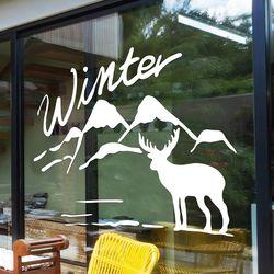 winter 설산과 사슴 겨울 인테리어 스티커 large
