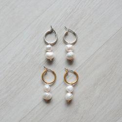 담수 진주 드롭 실버 골드 링 귀걸이 티타늄침 (2color)