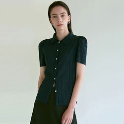 PLEATED HALF BLOUSE_NAVY(ITEMPCZKTQY)