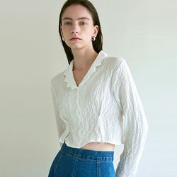 WRINKLE CROPPED BLOUSE_WHITE(ITEMS1Z4PGU)
