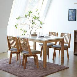 제이 노블 회전의자 4인용 대리석 원목 식탁세트