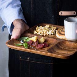 우드 원목 나무 나눔접시 3칸 반찬접시 그릇