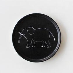 포그린넨 트레이 원형 블랙 코끼리