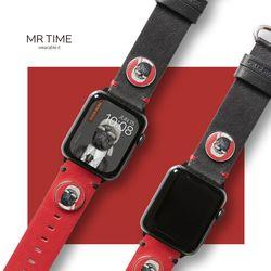 [MR TIME x Pets Rock] 펫츠락 콜라보 시계줄 패션 레드블랙