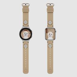 [예약판매 10/18 순차배송] MR TIME 펫츠락 콜라보 시계줄 다이아몬드 베이지 갤럭시워치4