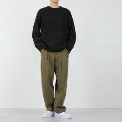 남자 코튼루즈핏핀턱 바이오워싱 와이드팬츠