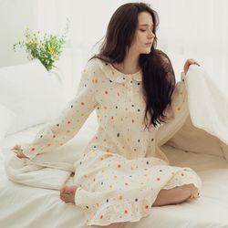 라운드카라 컬러도트 요루면 원피스 잠옷 홈웨어