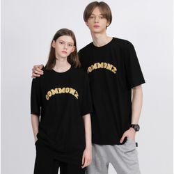 [당일발송] 커먼즈 남녀공용 아치 세미 오버핏 티셔츠-블랙