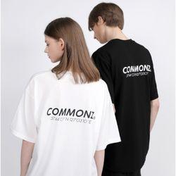 [당일발송] 커먼즈 남녀공용 로고 세미 오버핏 티셔츠-화이트