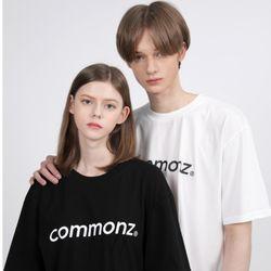 [당일발송] 커먼즈 남녀공용 베이직 세미 오버핏 티셔츠-블랙