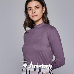 아리스토우 여자 기모 티셔츠 긴팔티 여성 바이올렛