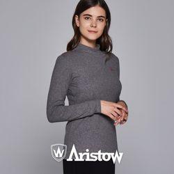 아리스토우 여자 기모 티셔츠 긴팔티 여성 멜란지그레이