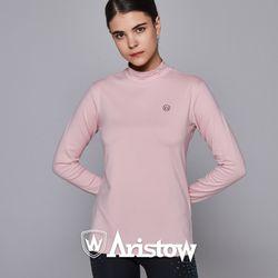 아리스토우 여자 기모 티셔츠 긴팔티 여성 멜란지핑크