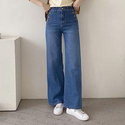 [무료배송] Saint Button Wide Jeans