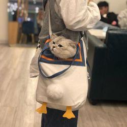 캔버스백 고양이 강아지 소형견 이동 가방 슬링백