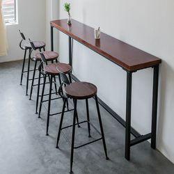 원목 폭좁은 긴 홈바 테이블