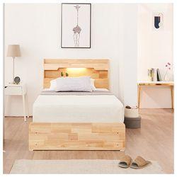 고무나무 원목 LED 슈퍼싱글 수납형 침대