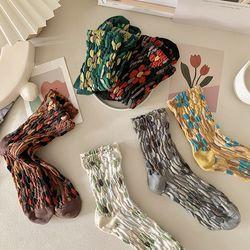 멜리니 중목 무늬 패션 양말