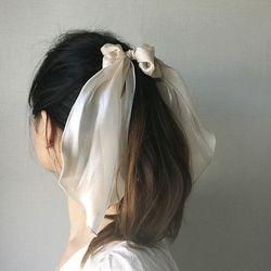 실크 새틴 리본 스트랩 곱창 스크런치 머리끈 (4color)
