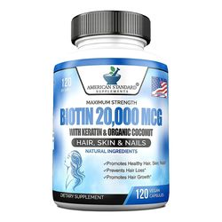 American standard Biotin 20000mcg 비오틴 케라틴 120캡슐