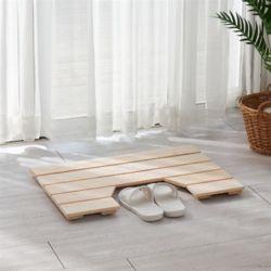 편백나무 고급 통원목 와이드 욕실발판 (홈) 630x440