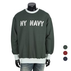[쿠비코]박시핏 NY 라인 배색 맨투맨 티셔츠 MZ235