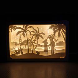 DIY 페이퍼커팅 LED무드등+매트 포함 - 해변의커플