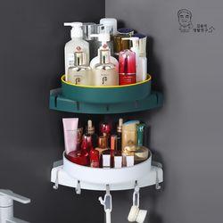 (2개입)듀올 무타공 360 회전 욕실 코너선반 수납정리