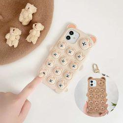 아이폰12 PRO 11 XR X 팝잇 아기곰 키링 실리콘케이스