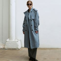 OVERSIZED DOUBLE TRENCH COAT [BLUE GRAY]