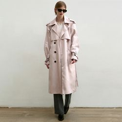 OVERSIZED DOUBLE TRENCH COAT [LIGHT PINK]