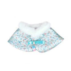 Premium Hanbok Fur Cape - Sky Blue