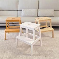 원목 2단 계단식 스툴 의자 2개