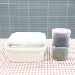 [무료배송] 마카롱 쌀통 3Kg+마카롱 다용도 잡곡통 900ml 2개