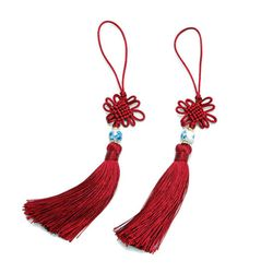 적자색 전통구슬 매듭끈 (2개)